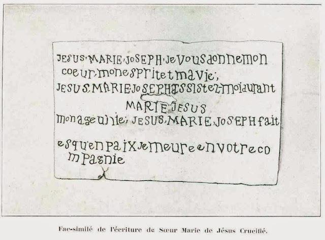Manuscrito da santa palestina que nunca chegou a escreve direito em francês.