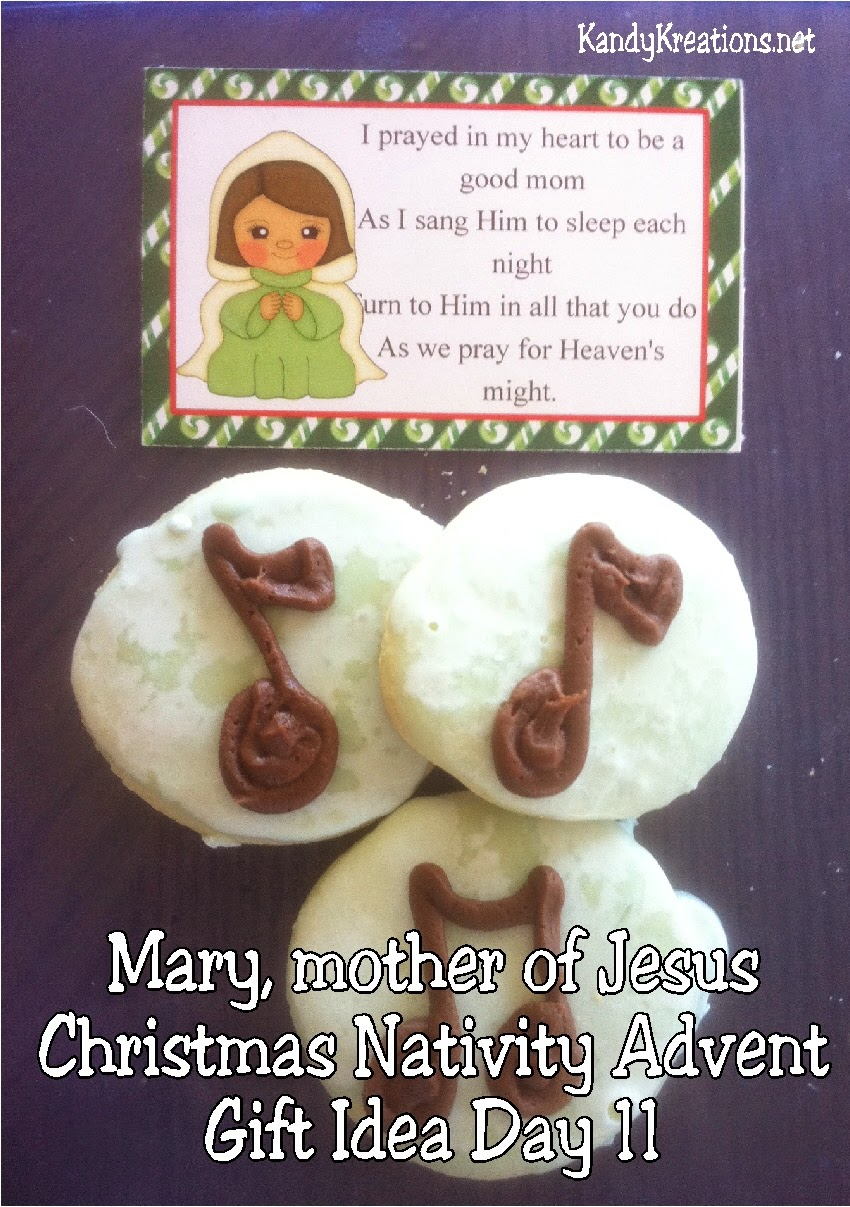 Celebrate Christmas with Mary, the mother of Jesus in this Christmas Nativity Advent gift idea for your family, friends, and neighbors.  Enjoy this music note sugar cookie recipe as you pray and sing with Mary to remember the Christ child this Christmas season. #virginmary #bagtopper #nativity #advent #christmas #christmasprintable #diypartymomblog