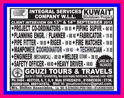 Kuwait Shutdown Project - Large No. Of Vacancies - Gulf Jobs for Malayalees
