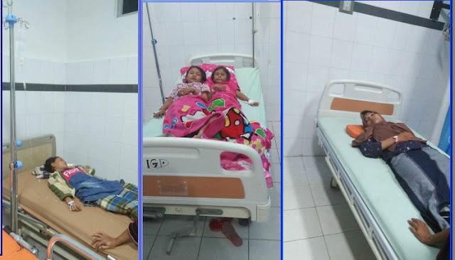 Para korban keracunan saat dirawat di RSU Rantauprapat.