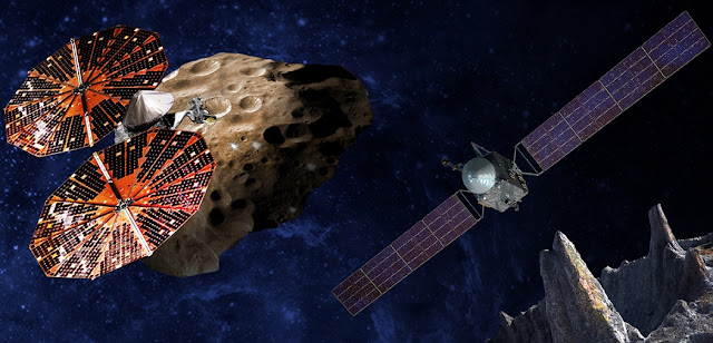 (Left) An artist's conception of the Lucy spacecraft flying by the Trojan Eurybates – one of the six diverse and scientifically important Trojans to be studied. Trojans are fossils of planet formation and so will supply important clues to the earliest history of the solar system. (Right) Psyche, the first mission to the metal world 16 Psyche will map features, structure, composition, and magnetic field, and examine a landscape unlike anything explored before. Psyche will teach us about the hidden cores of the Earth, Mars, Mercury and Venus. Credits: SwRI and SSL/Peter Rubin