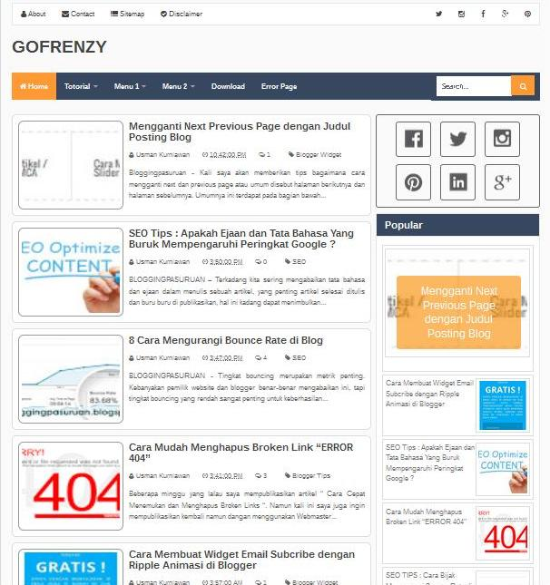 GoFrenzy Blogger Template Free Responsive 2016
