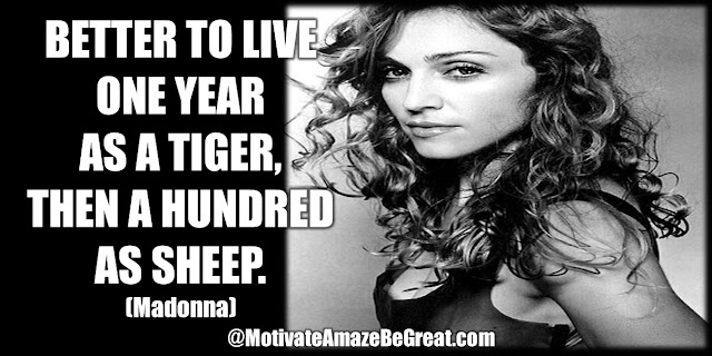 """Better to live one year as a tiger, then a hundred as sheep."" Madonna"