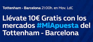 william hill promocion Tottenham vs Barcelona 3 octubre