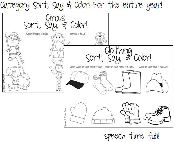 Speech Time Fun: Category Sort, Say & Color! For the