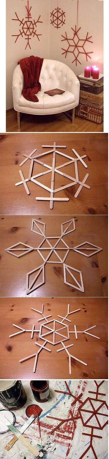 DIY Popsicle Stick Snow Flakes