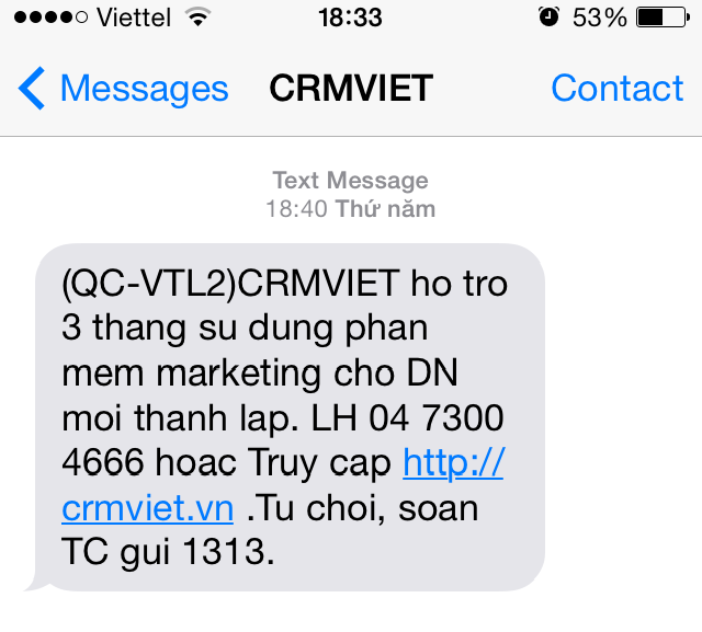 sms marketing trên crm
