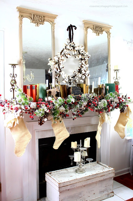 Rosevine Cottage, Christmas Decor, Decorating, Mantel Decor, Christmas Past, Vintage, Cotton, Flocked, Old Books,