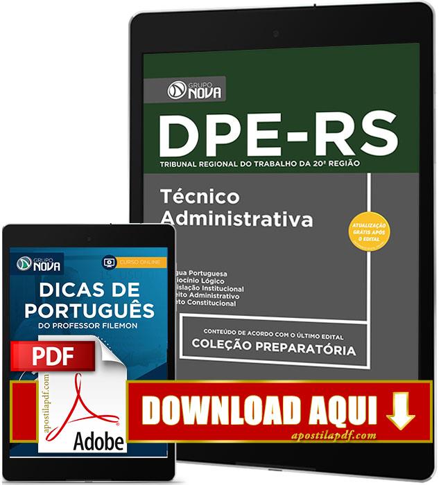 Apostila DPE RS 2017 PDF Download Técnico Área Administrativa Grátis Curso Online