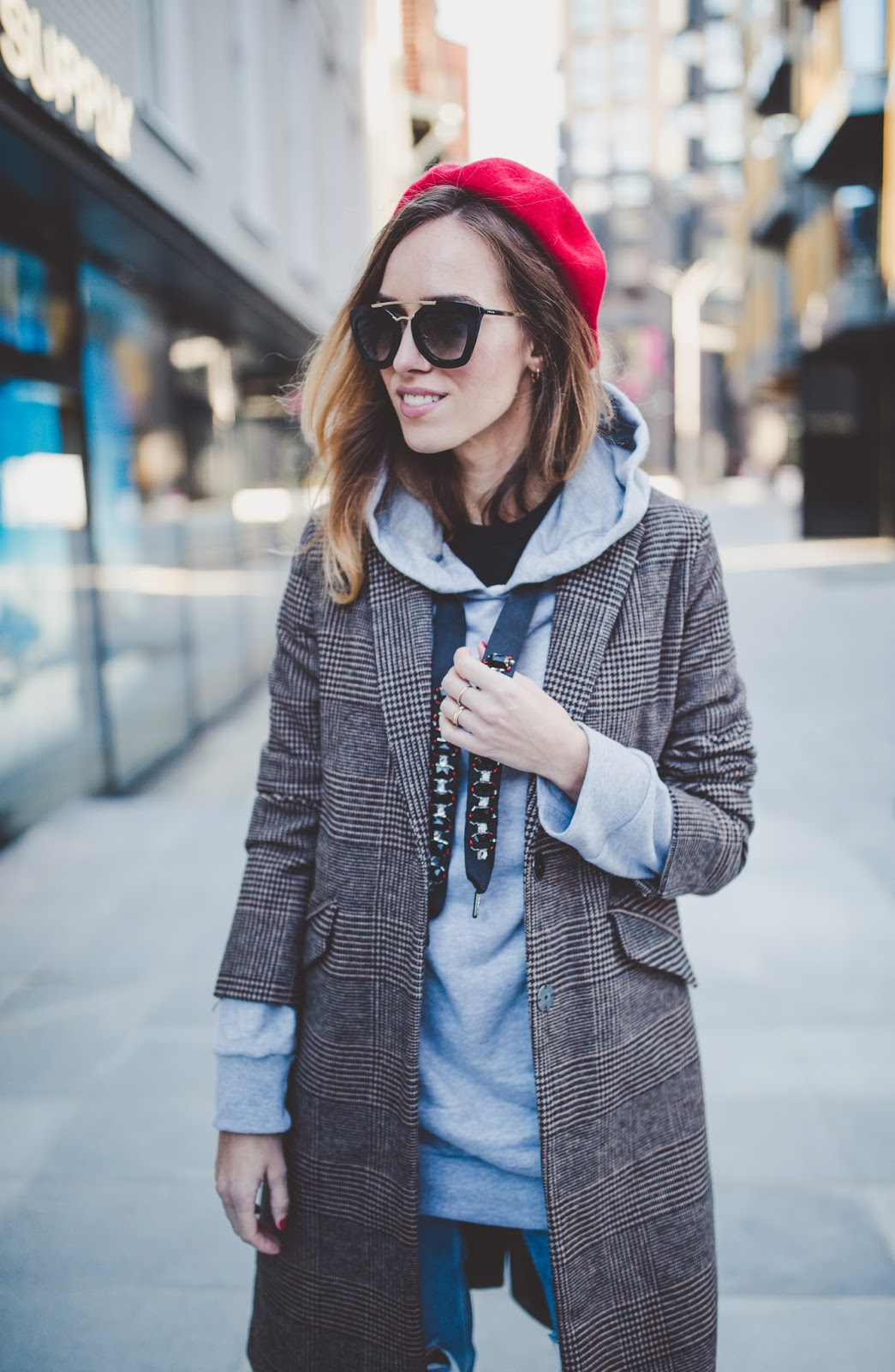 beret hoodie coat outfit fall