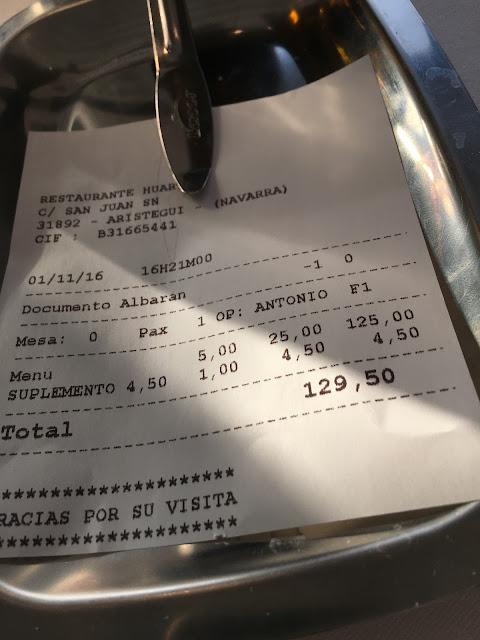Detalle de la minuta. Restaurante del museo de la Universidad de Navarra.