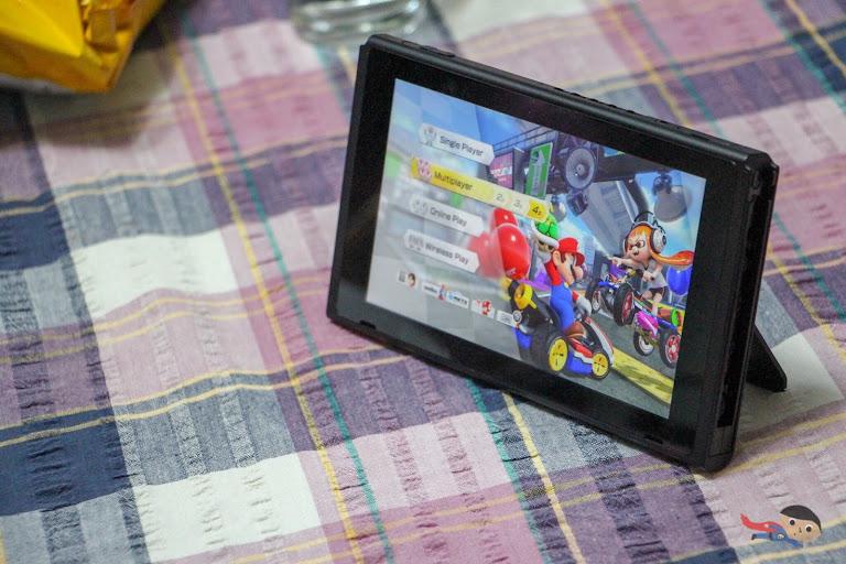 Playing Mario Kart in Nintendo Switch