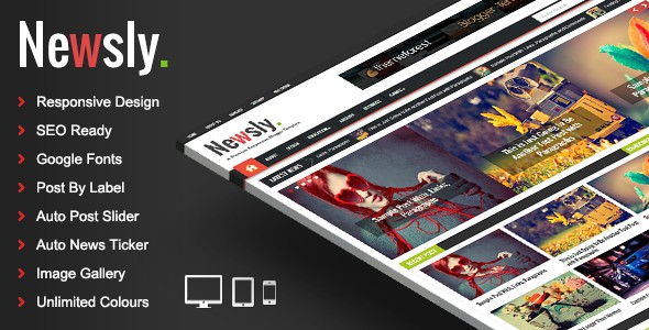 Newsly blogger template is a fantastic look and clean flat style multipurpose blogger theme