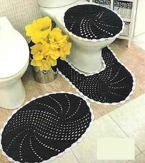 Jogos de Tapetes de Croche Para Decorar Banheiro Com Receitas e Gráficos