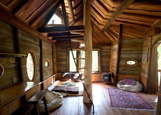 pokój w domku na drzewie