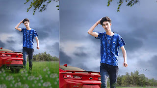 car boy, boy with car, boy with car background, boy with blur blue sky