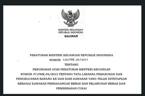 Peraturan Menteri Keuangan Nomor 120/ PMK.04/2017