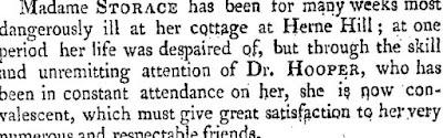 Nancy Storace dernière maladie août 1817