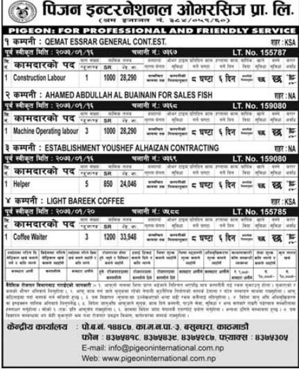 Jobs For Nepali In Saudi Arabia, Salary -Rs.33,948/
