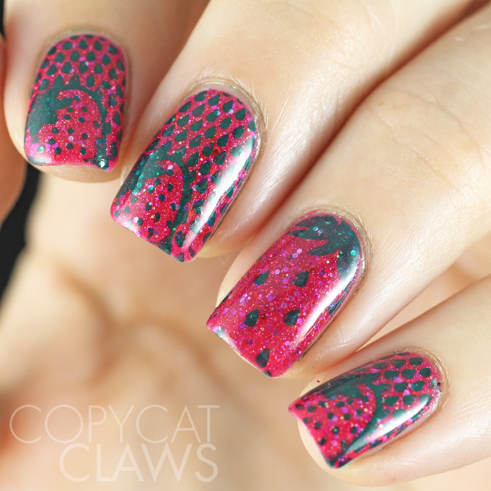 Copycat Claws: Sunday Stamping - Over Pink Glitter