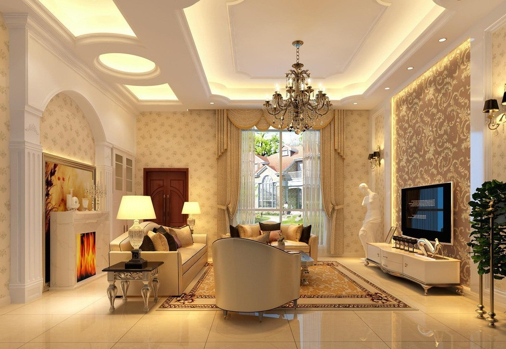 12 best false ceiling designs for living room for Sitting room styles