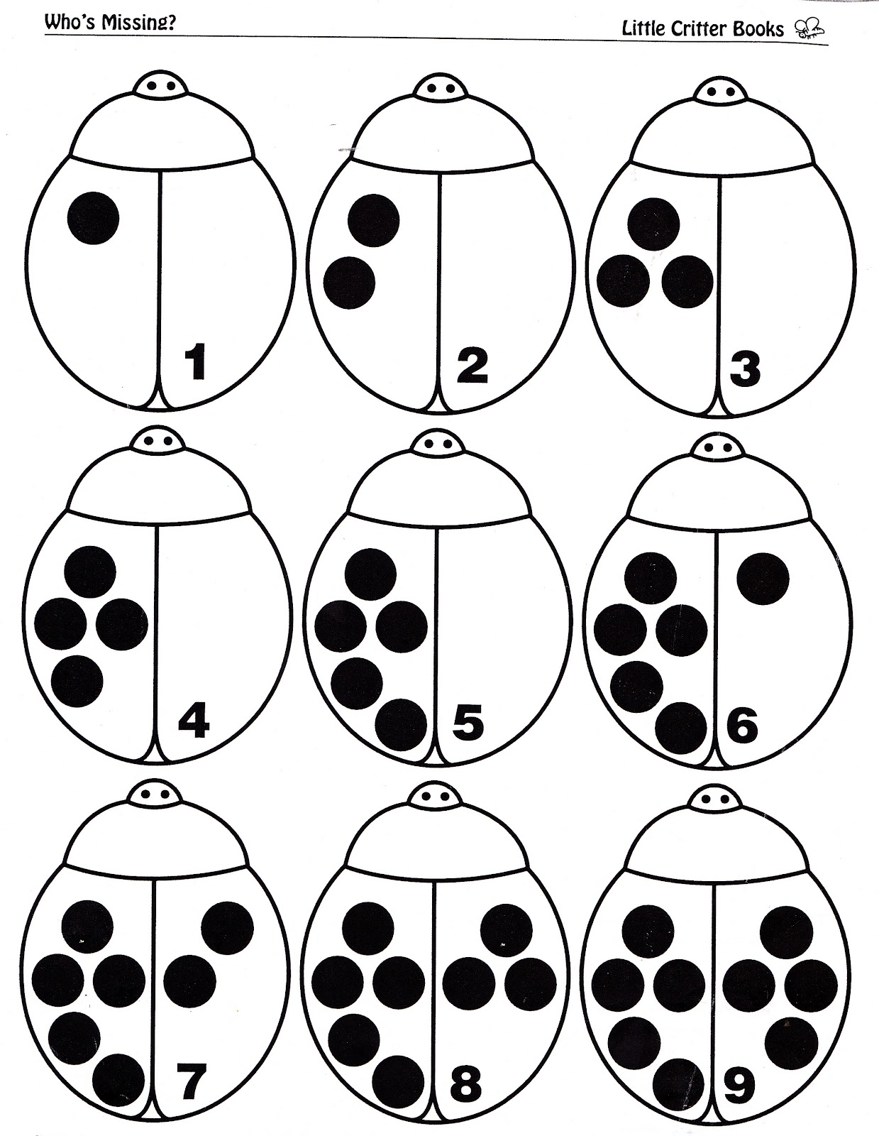 Ladybug Coloring Preschool Math Sketch Coloring Page