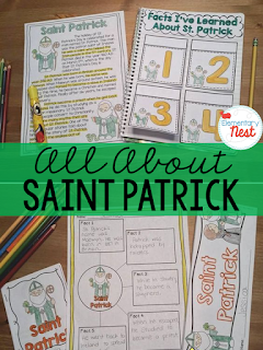Learning about Saint Patrick- the history behind the St. Patrick's Day holiday- interactive activities and reading fun for kids