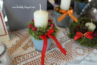 Dekoracje Bożonarodzeniowe- proste świeczniki