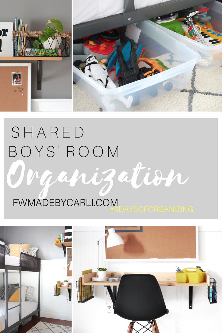 pintereest graphic shared boys room organization collage