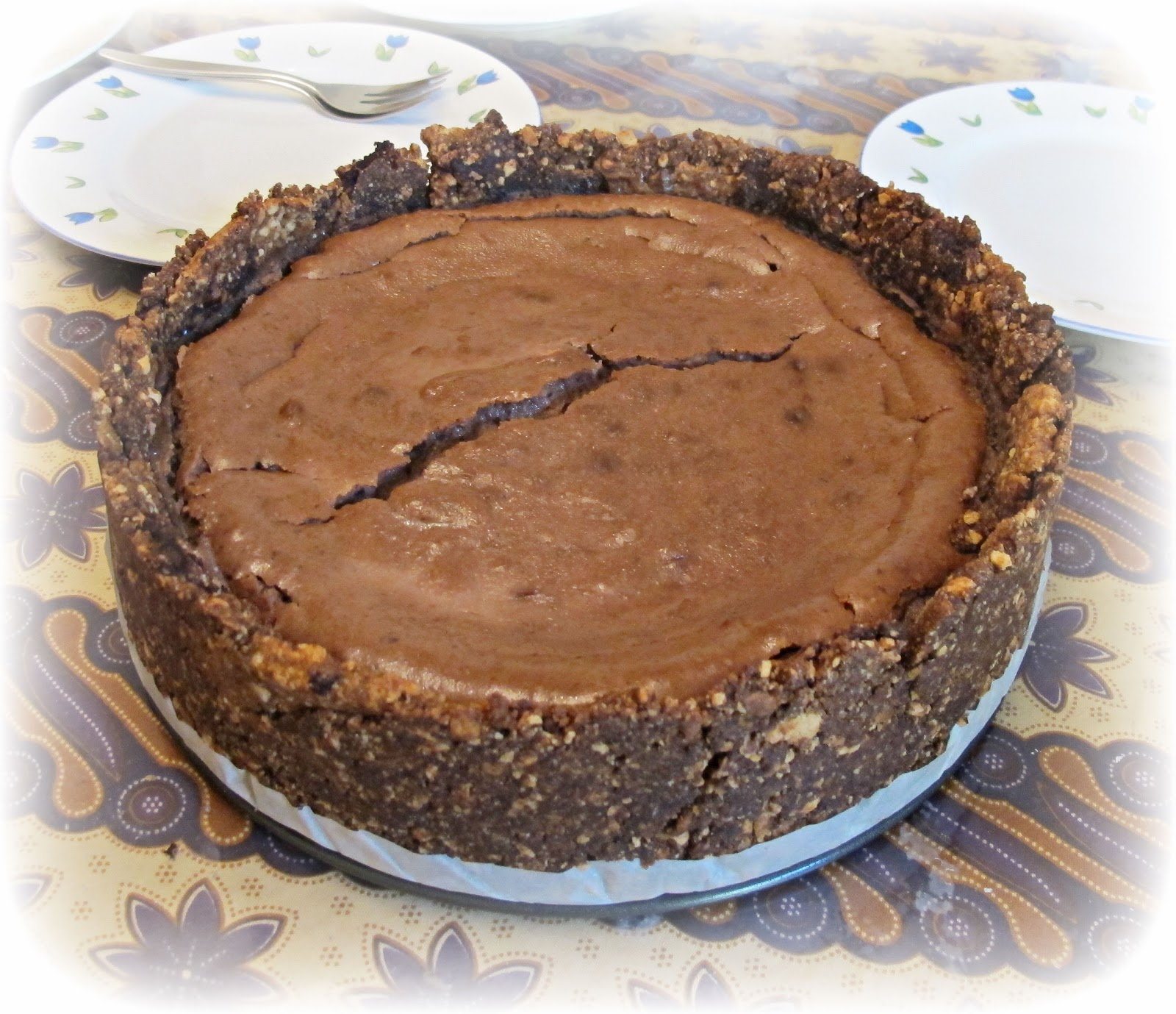 image baked chocolate cheesecake