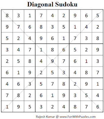Diagonal Sudoku (Fun With Sudoku #62) Puzzle Solution