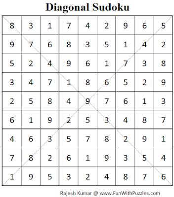Diagonal Sudoku (Fun With Sudoku #62) Puzzle Solution