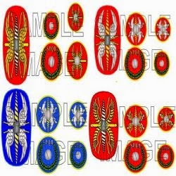 RANR 1 Legionary shield transfers  ( 21 scutum and 4 round patterns (Four patterns available).