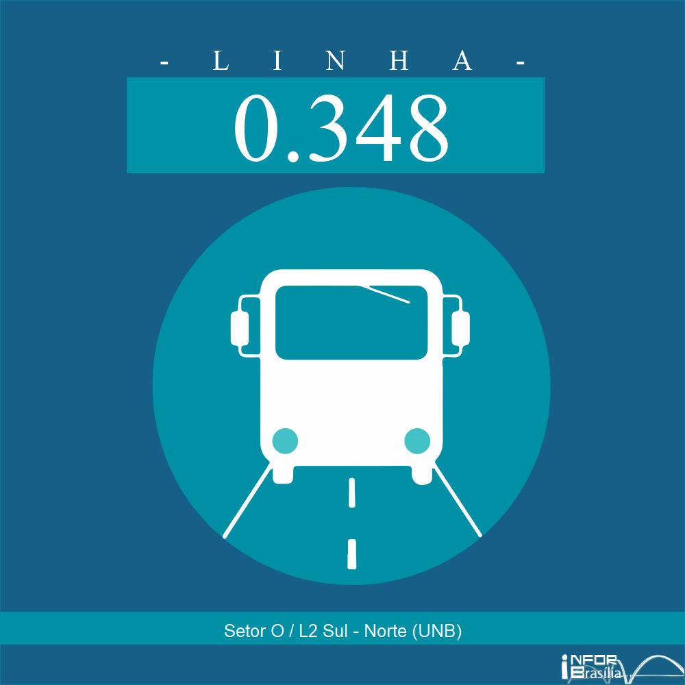 Horário de ônibus e itinerário 0.348 - Setor O / L2 Sul - Norte (UNB)