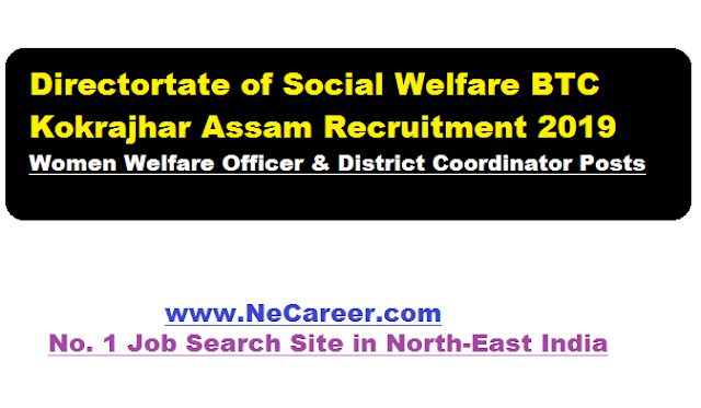 directorate of social welfare btc btad kokrajhar job recruitment 2019 march
