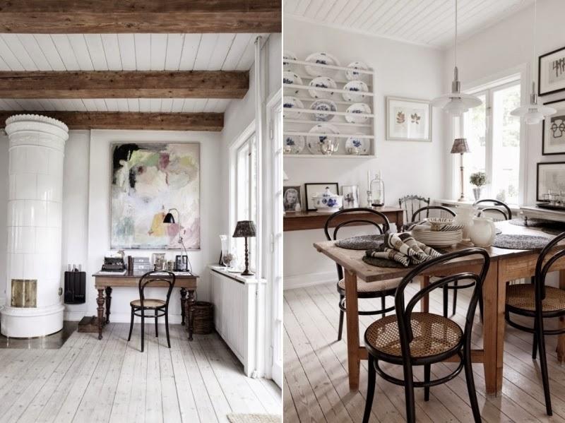 Tradycyjny, skandynawski dom z rustykalną nutą, wystrój wnętrz, wnętrza, urządzanie domu, dekoracje wnętrz, aranżacja wnętrz, inspiracje wnętrz,interior design , dom i wnętrze, aranżacja mieszkania, modne wnętrza, styl skandynawski, drewniane belki, białe wnętrza, jadalnia