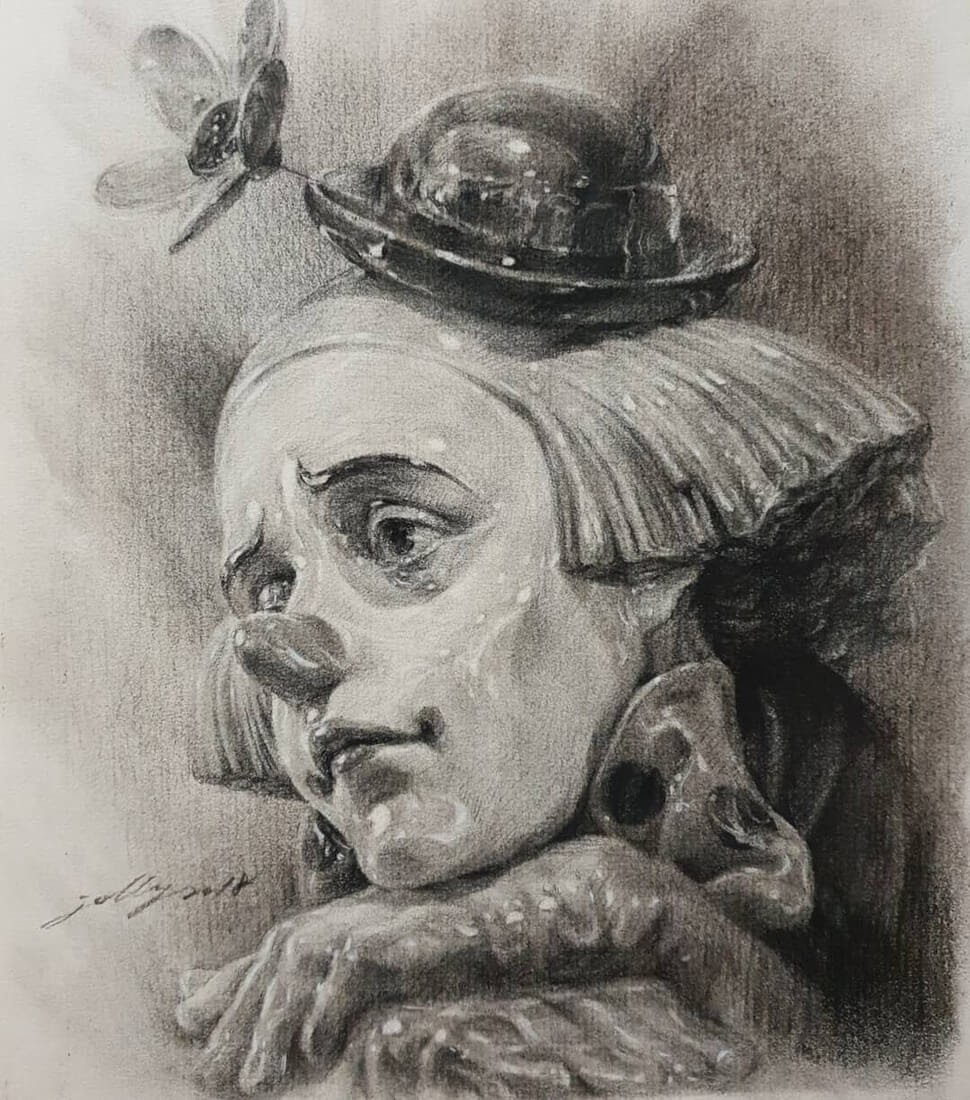 13-Jori-Charcoal-Portraits-of-Young-and-Old-plus-a-Clown-www-designstack-co