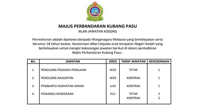 Jawatan Kosong di Majlis Perbandaran Kubang Pasu MPKP 2019