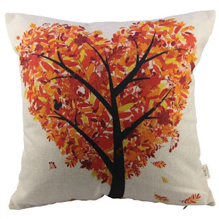 Fall Leaves in Heart Shape Pillow Cover featured on Walking on Sunshine.