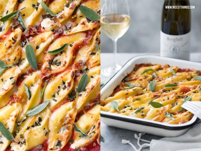 Gefüllte Conchiglioni Muschelnudeln mit Taleggio Käse, Pancetta, Salbei