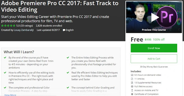 [100% Off] Adobe Premiere Pro CC 2017: Fast Track to Video Editing|Worth 195$