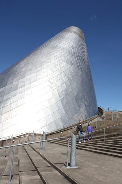 Admiring the structure of the Museum of Glass in Tacoma Washington