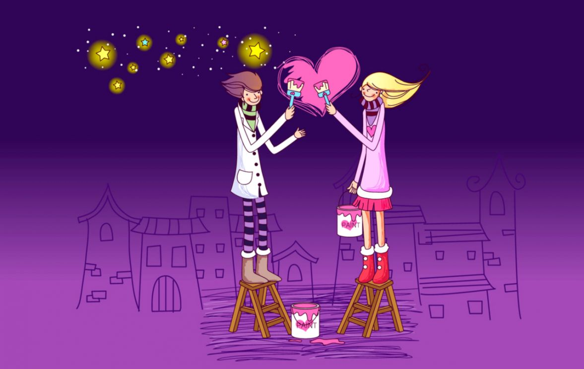 Cartoon Couple Sweet Love Wallpaper Android Wallpapers