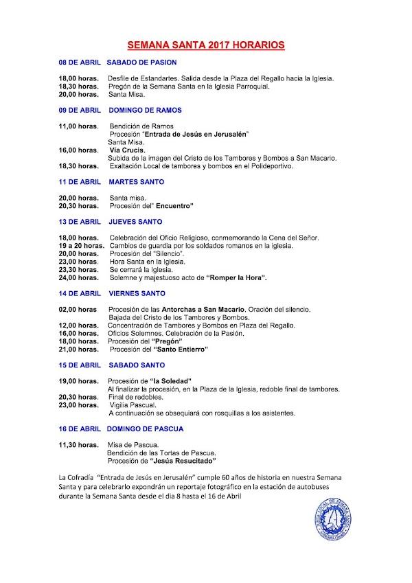 Programa, Horarios de la Semana Santa de Andorra 2017