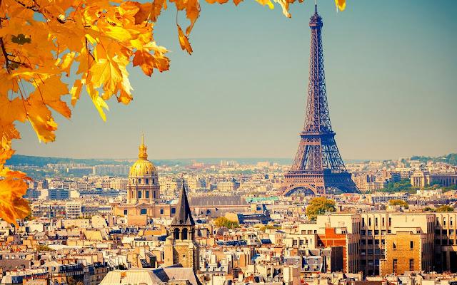 Herfst in Parijs met de Eiffeltoren en een boom met herfstbladeren