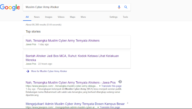 """Jejak Digital Berita Tidak Sesuai Standard Jawa Pos, """"Nah Tersangka Muslim Cyber Army Ternyata Ahoker"""""""