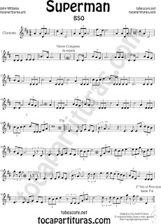 Clarinete Partitura de Superman Sheet Music for Clarinet Music Score