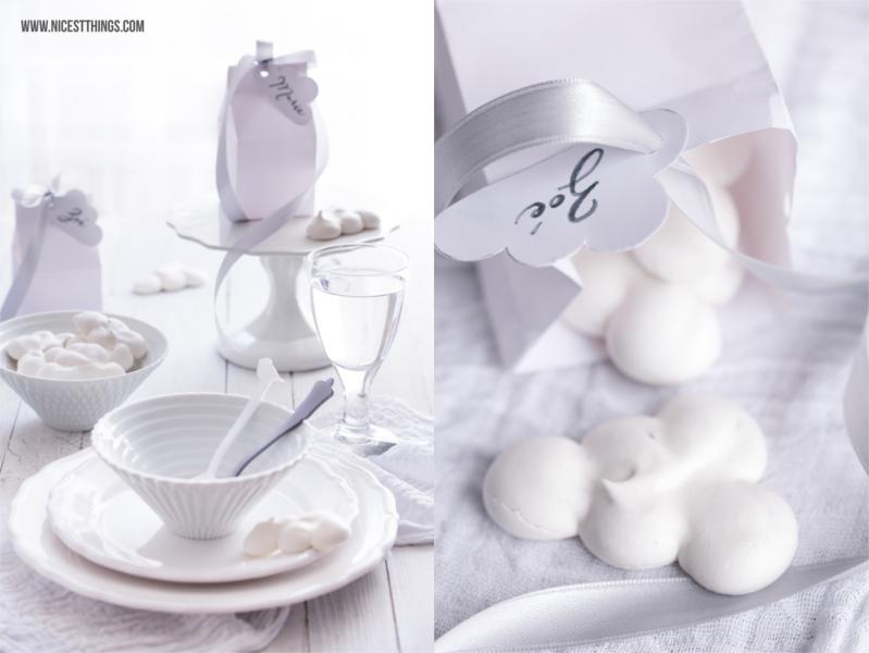 Diner en Blanc White Dinner Wolken Meringues Milchtüten basteln Geschenkideen