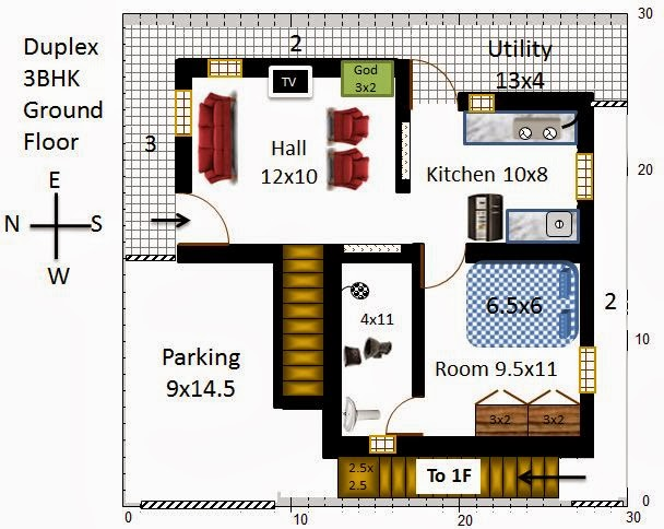 South Facing House Floor Plans: My Little Indian Villa: #13#R6 2 Houses In 30x30 (West