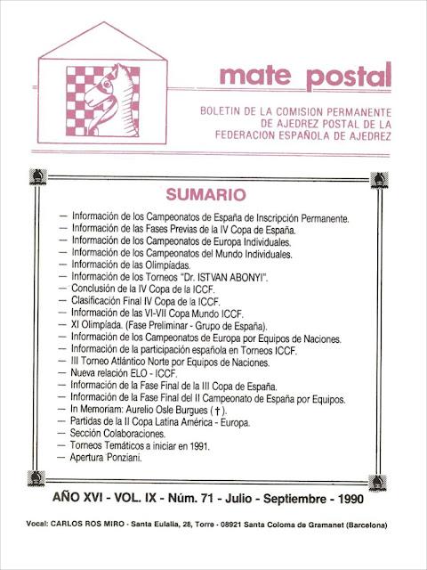 Mate Postal Nº71-Julio-Septiembre-1990